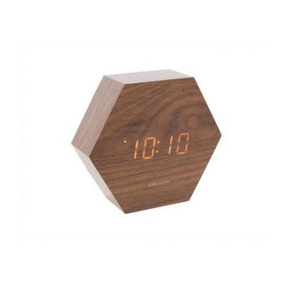 Alarm Clock Hexagon | Dark Wood