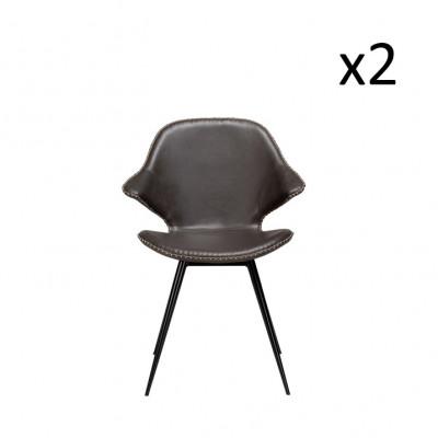 Stuhl Karma | Graues PU-Leder und schwarze Beine | 2er-Set