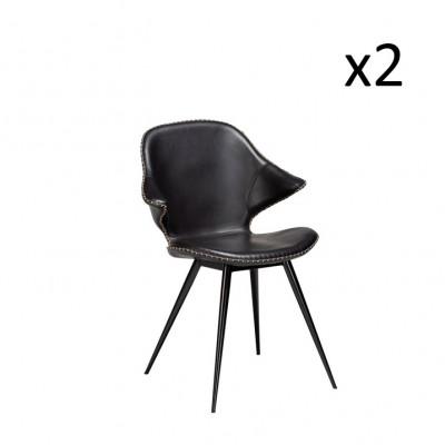 Stuhl Karma   Schwarzes PU-Leder & schwarze Beine   2er-Set