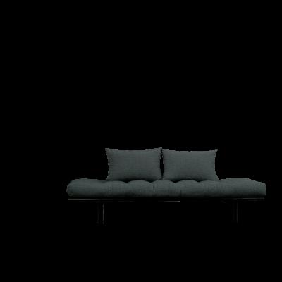 Tagesbett Pace | Schwarzer Rahmen + schiefergraue Matratze