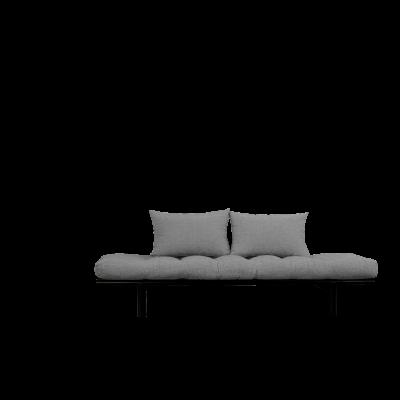 Tagesbett Pace | Schwarzer Rahmen + granitgraue Matratze