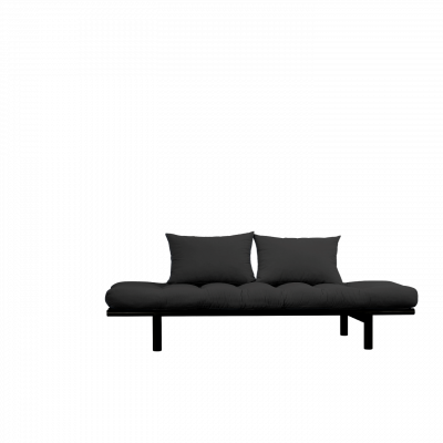Tagesbett Pace | Schwarzer Rahmen + dunkelgraue Matratze