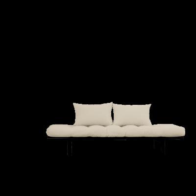 Tagesbett Pace | Schwarzer Rahmen + Beige Matratze