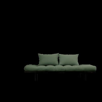 Tagesbett Pace | Schwarzer Rahmen + Olivgrüne Matratze