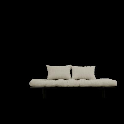 Tagesbett Pace | Schwarzer Rahmen + Leinenmatratze