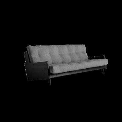 Sofabett Indie | Schwarzer Rahmen + granitgraue Matratze