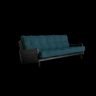Sofabett Indie | Schwarzer Rahmen + tiefblaue Matratze