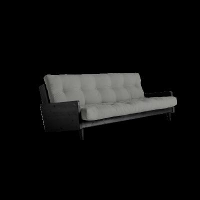 Sofabett Indie | Schwarzer Rahmen + graue Matratze