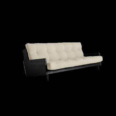 Sofabett Indie | Schwarzer Rahmen + Beige Matratze