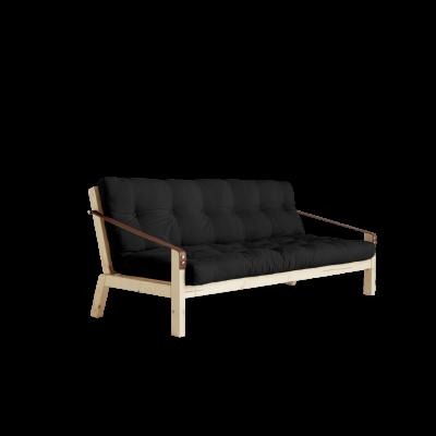 Sofabed Poetry | Natural Frame + Dark Grey Mattress