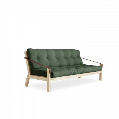 Sofabed Poetry | Natural Frame + Olive Green Mattress