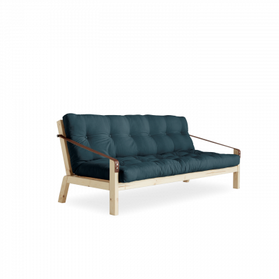 Sofabed Poetry | Natural Frame + Petrol Blue Mattress