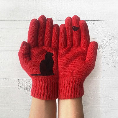 Handschuhe   Katze & Vogel   Rot