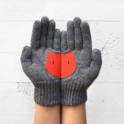 Handschuhe Katzenkopf   Grau