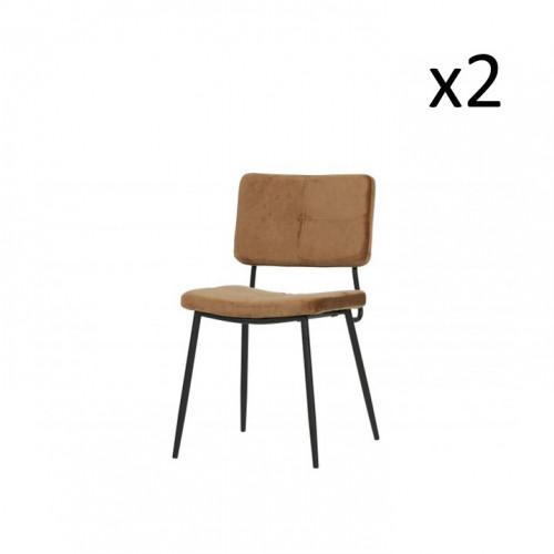 Velvet Dining Chair Kaat | Set of 2 | Brown