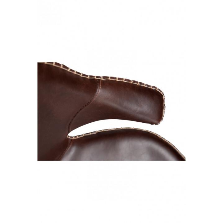 Chaise Karma | Cuir PU marron cacao et pattes noires | Lot de 2