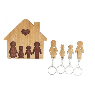 Keyholder with Set of Keychains   Family