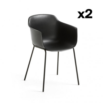 2er Set Stühle Khasumi | Schwarz