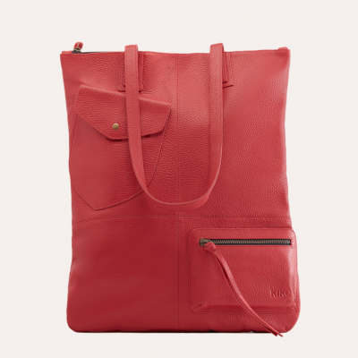 Leather Tote Bag Fold n Hold | Red