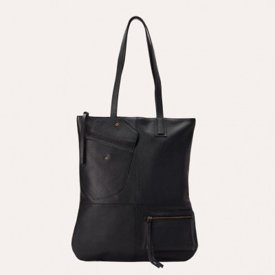Leather Tote Bag Fold n Hold | Black