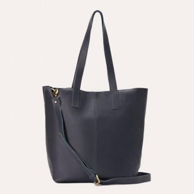 Leather Tote Bag Journalist | Dark Blue