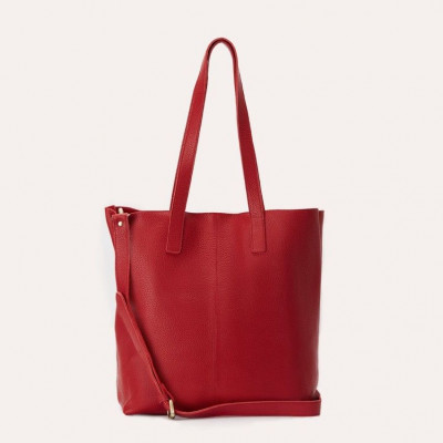Leather Tote Bag Journalist | Red