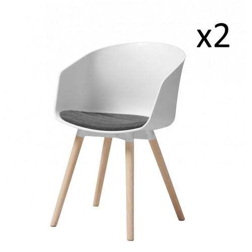 Chaise Foon 30 avec Coussin en Tissu | Set de 2 | Blanc / Gris