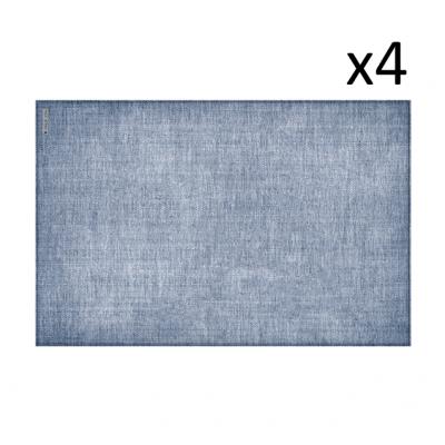 Vinyl-Platzset Leinen 4er-Set | Blau