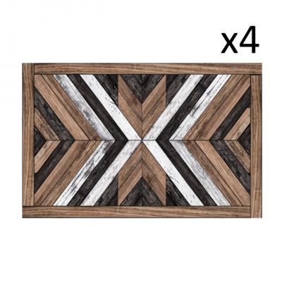 Vinyl-Tischsets Holz-Kunst 4er-Set