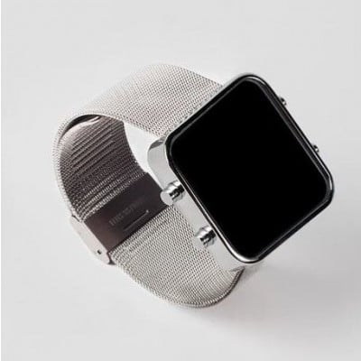 Digital Watch | Silver, Milanese Loop Bracelet