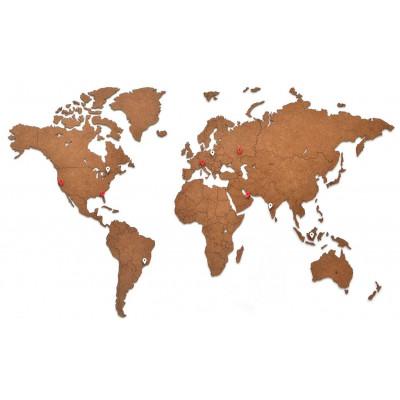 Luxus-Weltkarte aus Holz 90 x 54 cm   Braun