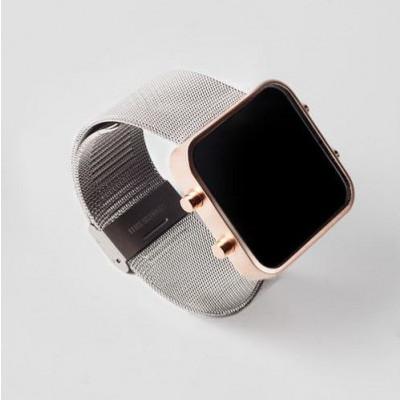 Digital Watch | Rose Gold, Milanese Metal Bracelet