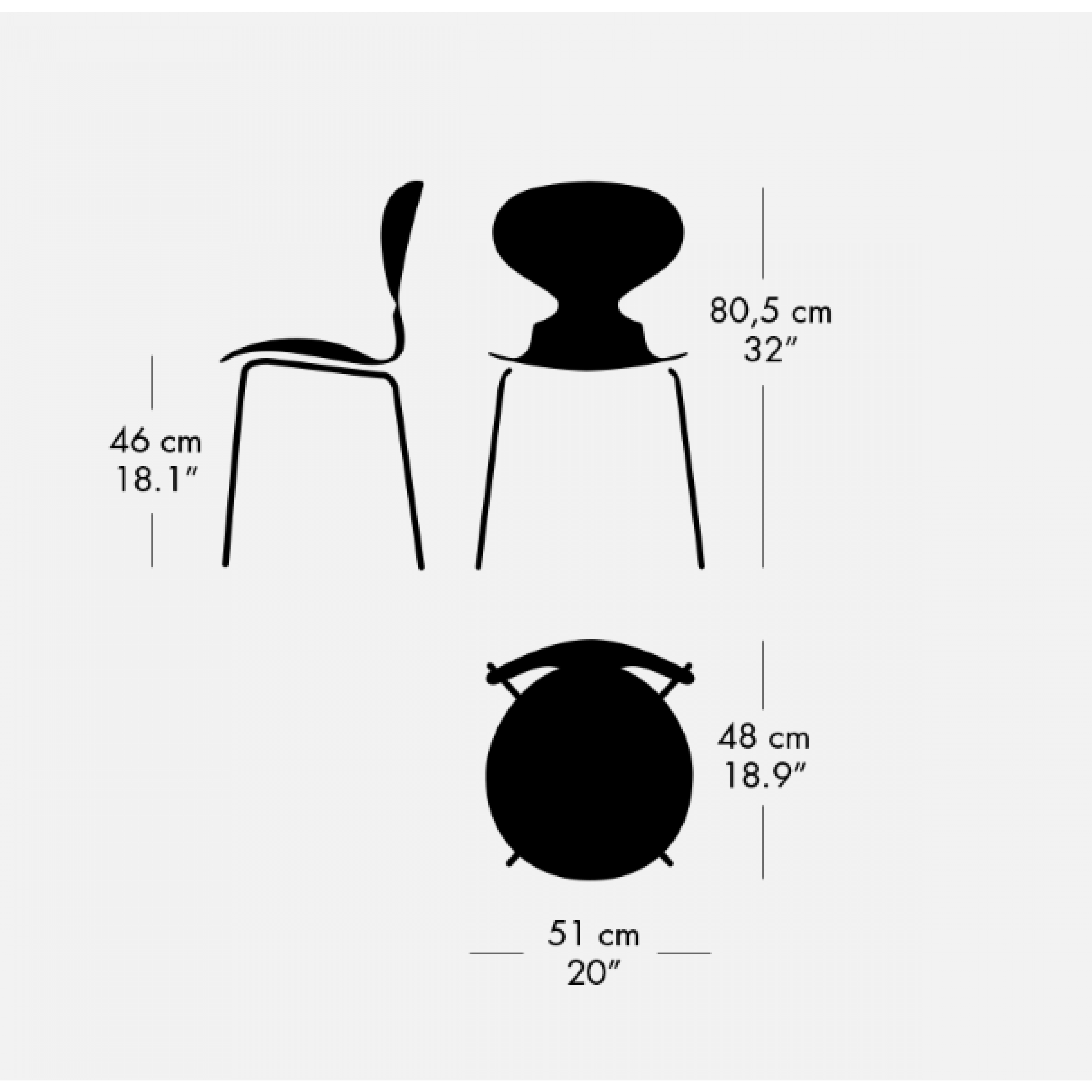 Chaise Ant Chêne Coloré | Noir