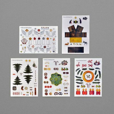 Set of 5 postcards   DIY Christmas Figures