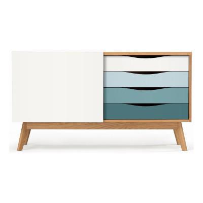 Sideboard Avon | Eiche, Weiß & Blau