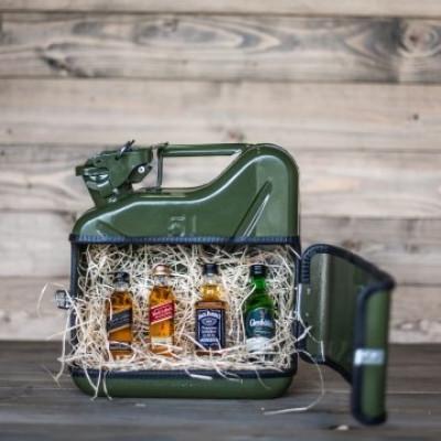 Jerrycan-Whiskey-Verkostungsset/Lunchbox | Grün