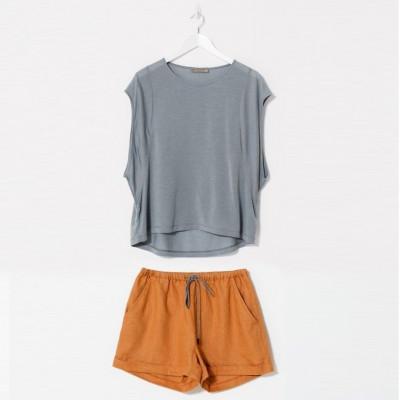 Kort Pyjama Set | Orange & Grau