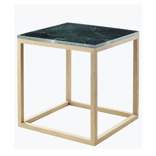 Cube Table | Oak & Green Marble