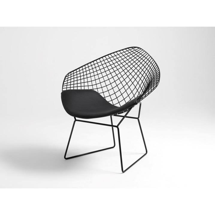 Stuhl Diament | Schwarz + Schwarzes Kissen