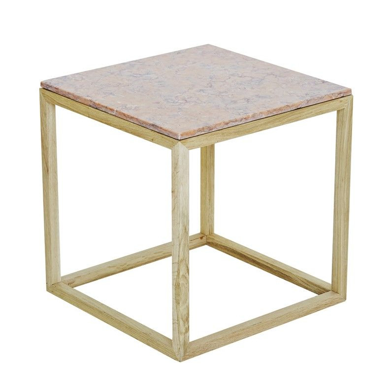 Cube Table   Oak & Red Marble