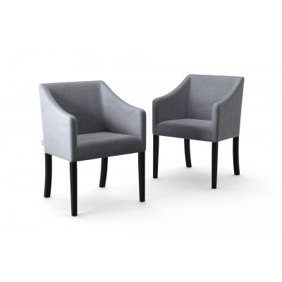 Set of 2 Dining Chairs Illusion Velvet | Grey