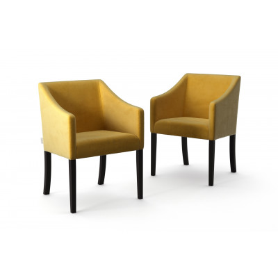Set of 2 Dining Chairs Illusion Velvet | Yellow