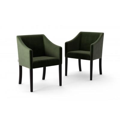 Set of 2 Dining Chairs Illusion Velvet | Dark Green