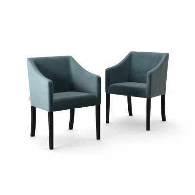 Set of 2 Dining Chairs Illusion Velvet | Grey Green