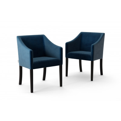 Set of 2 Dining Chairs Illusion Velvet | Navy Blue