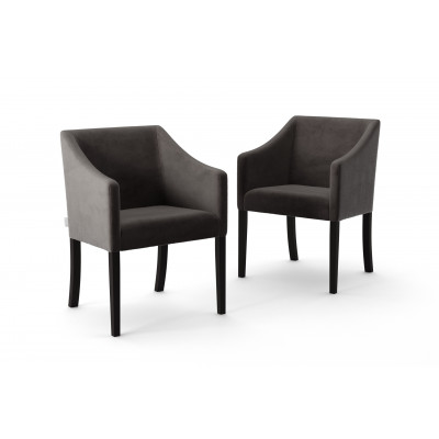 Set of 2 Dining Chairs Illusion Velvet | Anthracite