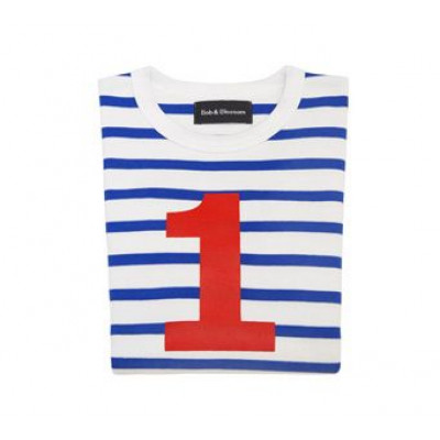 Blau-weißes bretonisch gestreiftes Nummern-T-Shirt
