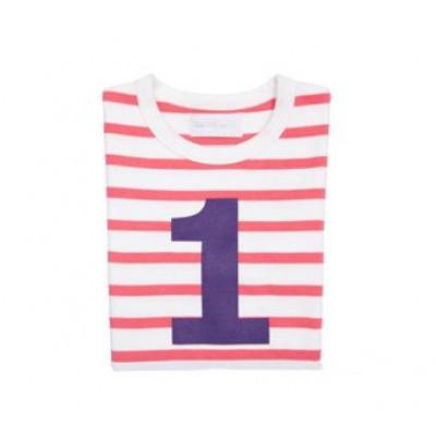 Rosa und weißes bretonisch gestreiftes Nummern-T-Shirt