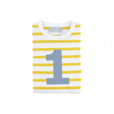 Weiß-gelb gestreiftes bretonisches Nummern-T-Shirt