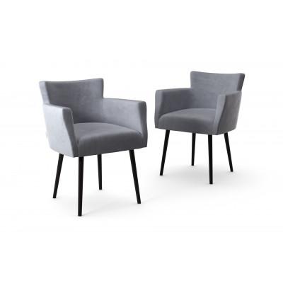2er-Set Lehnstühle Billie Samt-Touch | Grau